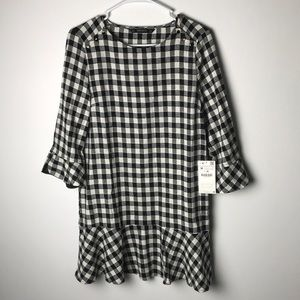 Zara ruffle plaid tunic dress M NWT